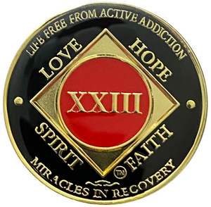 NA 23 Year Coin, Gold Color Plated-Medallion, Narcotics Anonymous Coin