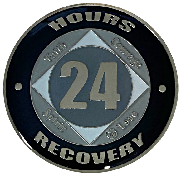 NA 24 Hours Coin, Silver Color Plated-Medallion, Narcotics Anonymous Coin