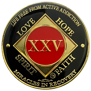 NA 25 Year Coin, Gold Color Plated-Medallion, Narcotics Anonymous Coin
