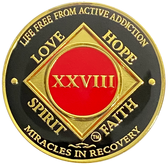 NA 28 Year Coin, Gold Color Plated-Medallion, Narcotics Anonymous Coin