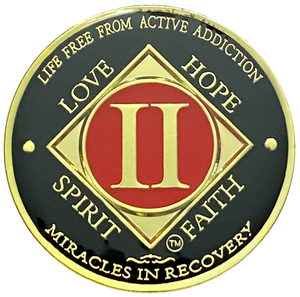 NA 2 Year Coin, Gold Color Plated-Medallion, Narcotics Anonymous Coin