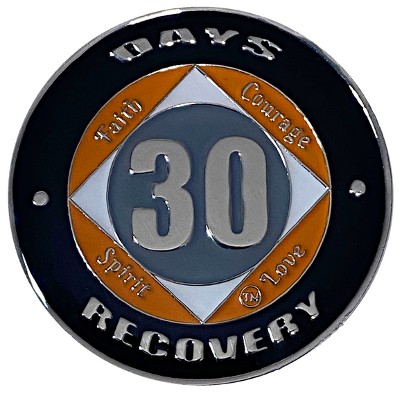 NA 30 Days Coin, Silver Color Plated-Medallion, Narcotics Anonymous Coin
