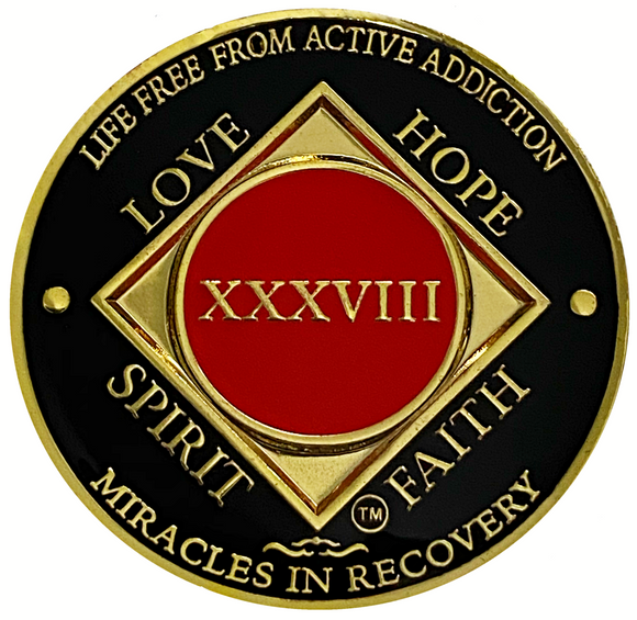 NA 38 Year Coin, Gold Color Plated-Medallion, Narcotics Anonymous Coin