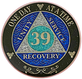 AA 39 Year Silver Color Plated Glitter Coin, Blue, Silver, Black Rainbow Glitter Alcoholics Anonymous Medallion
