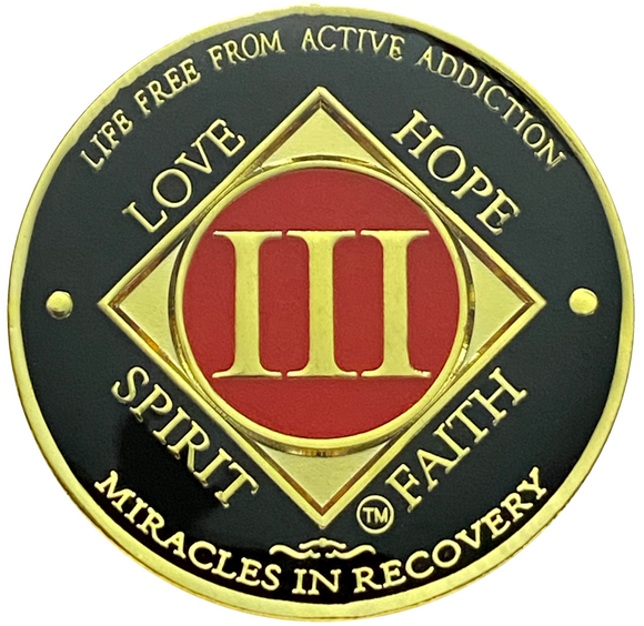 NA 3 Year Coin, Gold Color Plated-Medallion, Narcotics Anonymous Coin
