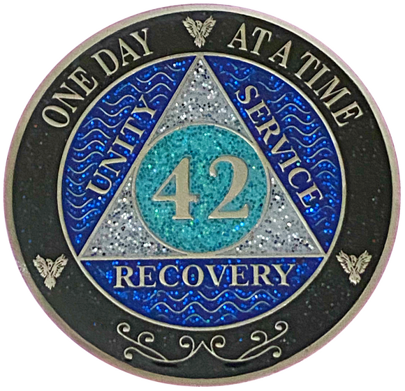 AA 42 Year Silver Color Plated Glitter Coin, Blue, Silver, Black Rainbow Glitter Alcoholics Anonymous Medallion