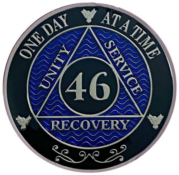 AA 46 Year Coin, Silver Color Plated-Medallion, Alcoholics Anonymous Chip