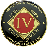 NA 4 Year Coin, Gold Color Plated-Medallion, Narcotics Anonymous Coin