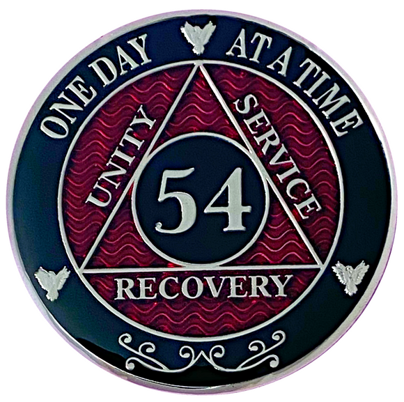 AA 54 Year Coin, Silver Color Plated-Medallion, Alcoholics Anonymous Chip