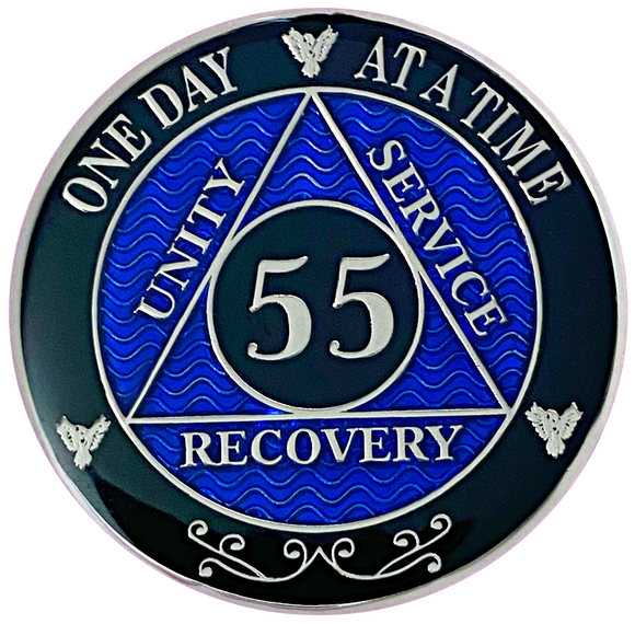 AA 55 Year Coin, Silver Color Plated-Medallion, Alcoholics Anonymous Chip