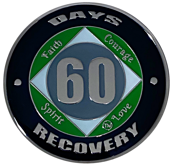 NA 60 Days Coin, Silver Color Plated-Medallion, Narcotics Anonymous Coin