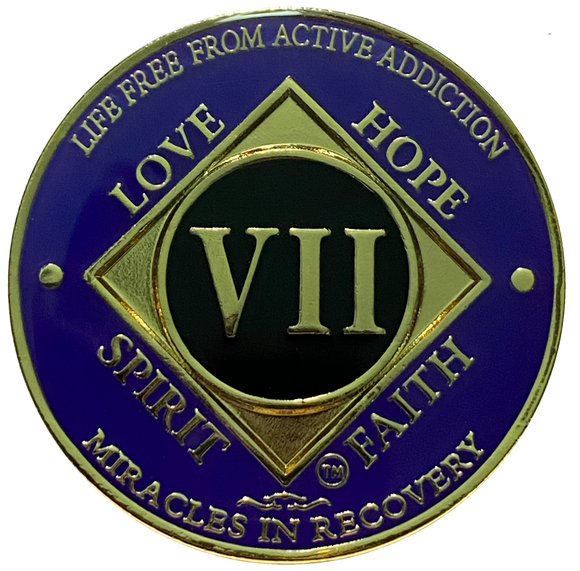 NA 7 Year Coin, Gold Plated Medallion, Narcotics Anonymous Coin