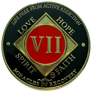 NA 7 Year Coin, Gold Color Plated-Medallion, Narcotics Anonymous Coin
