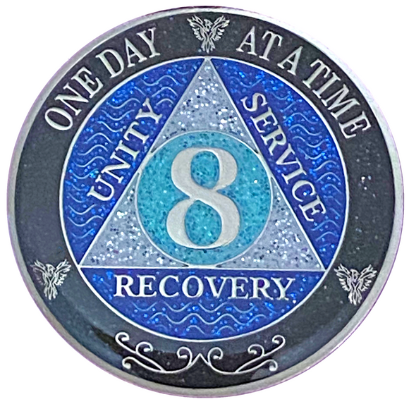 AA 8 Year Silver Color Plated Glitter Coin, Blue, Silver, Black Rainbow Glitter Alcoholics Anonymous Medallion