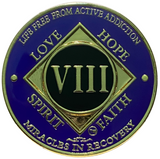 NA 8 Year Coin, Gold Color Plated-Medallion, Narcotics Anonymous Coin