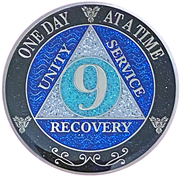 AA 9 Year Silver Color Plated Glitter Coin, Blue, Silver, Black Rainbow Glitter Alcoholics Anonymous Medallion