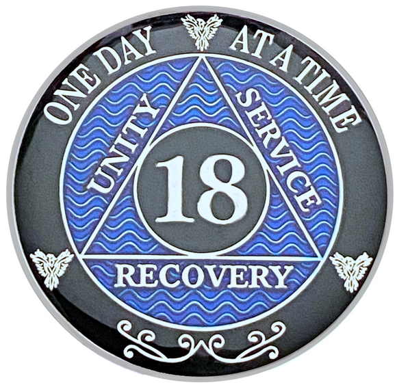 AA 18 Year Coin, Silver Color Plated-Medallion, Alcoholics Anonymous Coin