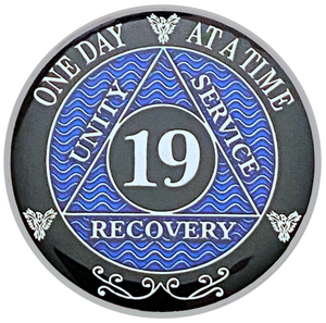 AA 19 Year Coin, Silver Color Plated-Medallion, Alcoholics Anonymous Coin