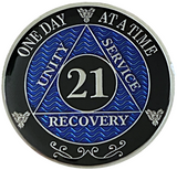 AA 21 Year Coin, Silver Color Plated-Medallion, Alcoholics Anonymous Coin