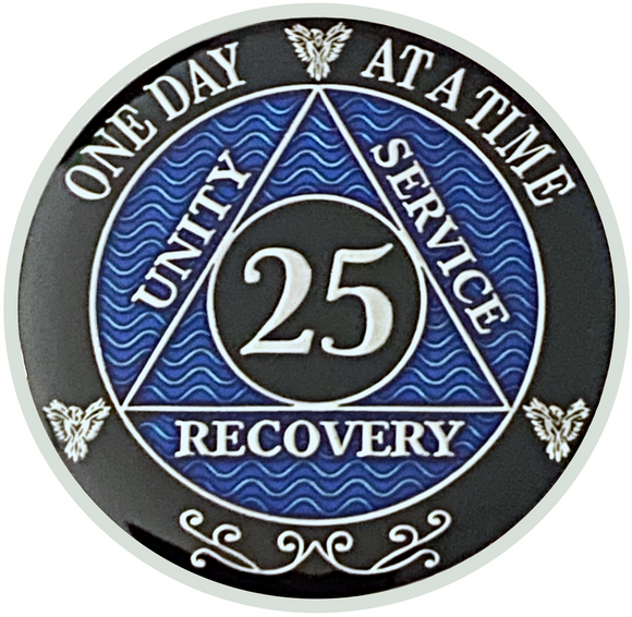 AA 25 Year Coin, Silver Color Plated-Medallion, Alcoholics Anonymous Coin
