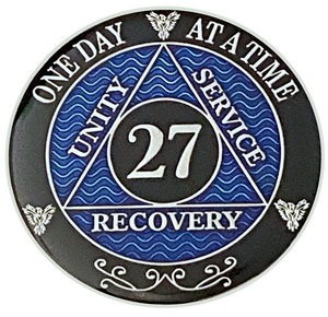 AA 27 Year Coin, Silver Color Plated-Medallion, Alcoholics Anonymous Coin