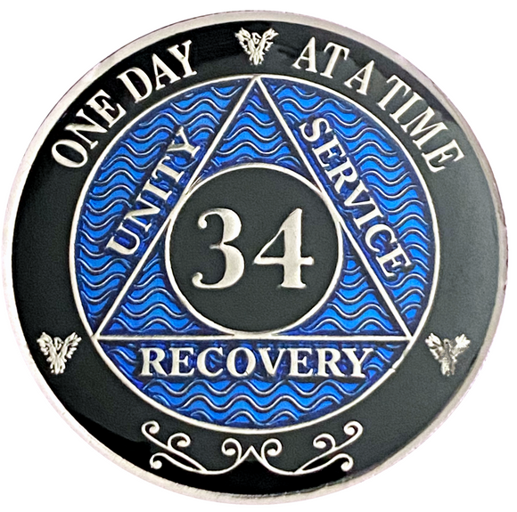 AA 34 Year Coin, Silver Color Plated-Medallion, Alcoholics Anonymous Coin