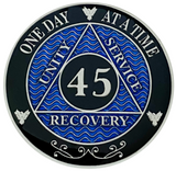 AA 45 Year Coin, Silver Color Plated-Medallion, Alcoholics Anonymous Coin
