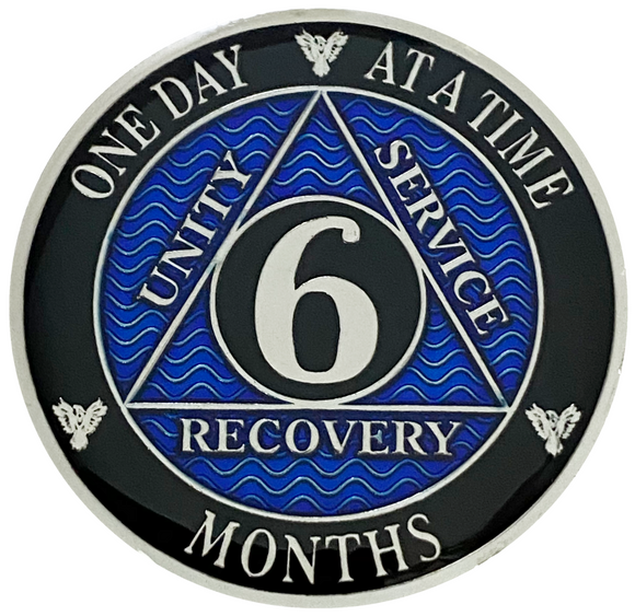 AA 6 Months Coin, Silver Color Plated-Medallion, Alcoholics Anonymous Coin
