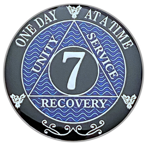 AA 7 Year Coin, Silver Color Plated-Medallion, Alcoholics Anonymous Coin