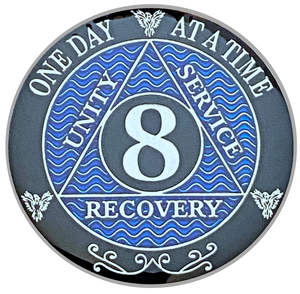 AA 8 Year Coin, Silver Color Plated-Medallion, Alcoholics Anonymous Coin