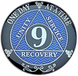 AA 9 Year Coin, Silver Color Plated-Medallion, Alcoholics Anonymous Coin