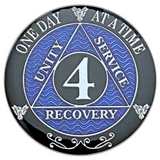 AA 4 Year Coin, Silver Color Plated-Medallion, Alcoholics Anonymous Coin