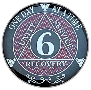 AA 6 Year Coin, Silver Color Plated-Medallion, Alcoholics Anonymous Coin