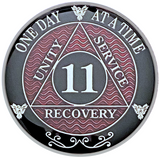 AA 11 Year Coin, Silver Color Plated-Medallion, Alcoholics Anonymous Coin