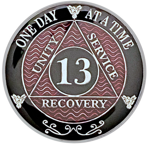 AA 13 Year Coin, Silver Color Plated-Medallion, Alcoholics Anonymous Coin