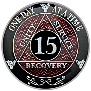 AA 15 Year Coin, Silver Color Plated-Medallion, Alcoholics Anonymous Coin