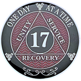 AA 17 Year Coin, Silver Color Plated-Medallion, Alcoholics Anonymous Coin