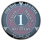 AA 1 Year Coin, Silver Color Plated-Medallion, Alcoholics Anonymous Coin
