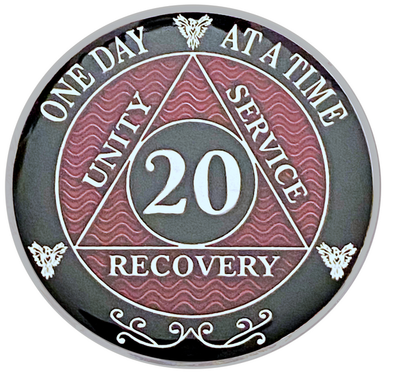 AA 20 Year Coin, Silver Color Plated-Medallion, Alcoholics Anonymous Coin