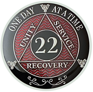 AA 22 Year Coin, Silver Color Plated-Medallion, Alcoholics Anonymous Coin