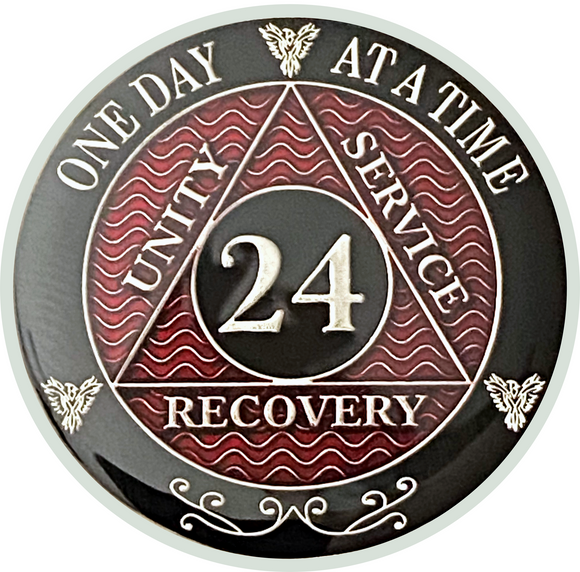 AA 24 Year Coin, Silver Color Plated-Medallion, Alcoholics Anonymous Coin