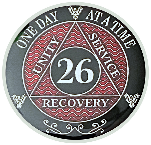 AA 26 Year Coin, Silver Color Plated-Medallion, Alcoholics Anonymous Coin