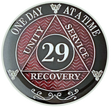 AA 29 Year Coin, Silver Color Plated-Medallion, Alcoholics Anonymous Coin