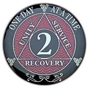 AA 2 Year Coin, Silver Color Plated-Medallion, Alcoholics Anonymous Coin