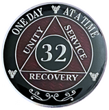 AA 32 Year Coin, Silver Color Plated-Medallion, Alcoholics Anonymous Coin