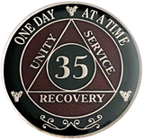 AA 35 Year Coin, Silver Color Plated-Medallion, Alcoholics Anonymous Coin
