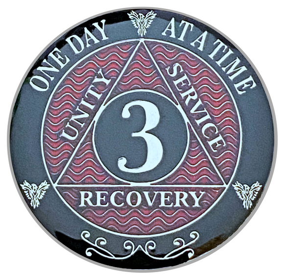 AA 3 Year Coin, Silver Color Plated-Medallion, Alcoholics Anonymous Coin