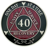 AA 40 Year Coin, Silver Color Plated-Medallion, Alcoholics Anonymous Coin