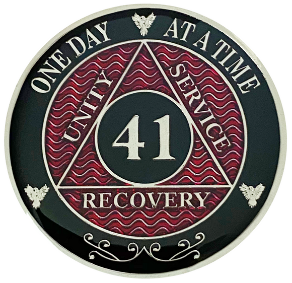 AA 41 Year Coin, Silver Color Plated-Medallion, Alcoholics Anonymous Coin