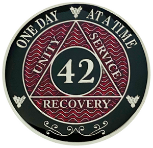 AA 42 Year Coin, Silver Color Plated-Medallion, Alcoholics Anonymous Coin